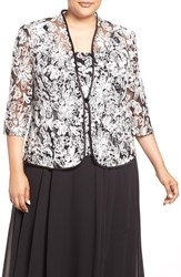 Alex Evenings Plus Size Women's Embroidered Twinset Black White