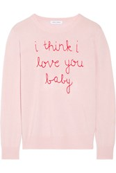 Lingua Franca I Think I Love You Baby Embroidered Cashmere Sweater Pastel Pink