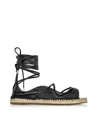 Dsquared2 Riri Black Nappa Leather Lace Up Flat Espadrilles
