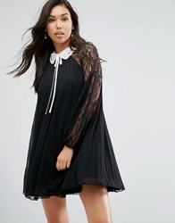 Asos Embellished Collar Pleated Lace Sleeve Dress Black