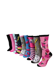 Betsey Johnson 9 Piece Solid And Printed Mid Calf Socks Multi