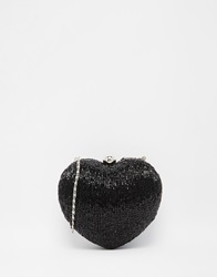 Moyna Beaded Heart Clutch In Black
