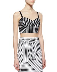 Milly Striped Fitted Crop Top Black