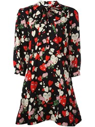 Vivetta Hearts Print Flared Dress Black