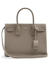 Saint Laurent Sac De Jour Baby Leather Tote Light Grey