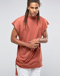 Granted Oversized Sleeveless T Shirt With High Neck Rust Orange