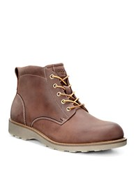 Ecco Holbrook Leather Utility Boots Cognac