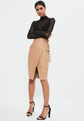 Missguided Nude Faux Leather Side Tie Wrap Midi Skirt