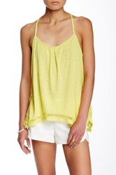 Green Dragon Pleated Scoop Neck Tank Yellow
