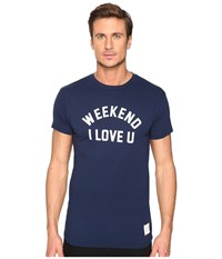 The Original Retro Brand Weekend I Love Short Sleeve Vintage Cotton Tee Navy Men's T Shirt