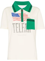 Telfar Flag Print Polo Shirt Neutrals