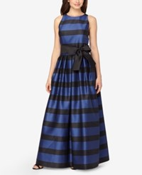 Tahari By Arthur S. Levine Asl Striped Belted A Line Gown Navy Black