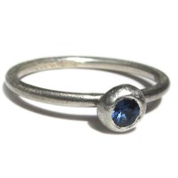 Catherine Marche Blue Sapphire Solitaire Ring In Sterling Silver
