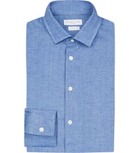 Richard James Contemporary Fit Linen Shirt Mid Blue