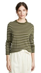 Jenni Kayne Cashmere Striped Sweater Military Oatmeal