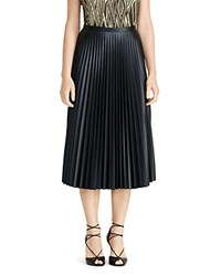 Lauren Ralph Lauren Faux Leather Accordion Pleat Midi Skirt Black
