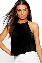 Boohoo Slinky Cross Back Swing Crop Cami Black