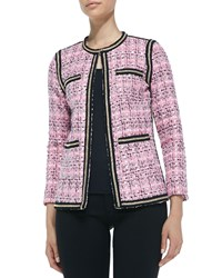 Michael Simon Chain Link Detail Tweed Jacket Lt Pink Black