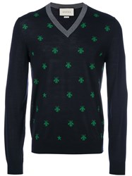 Gucci Bee And Star Knitted Jumper Men Wool S Blue