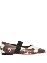 Burberry Logo Detail Cow Print Leather Flats Brown