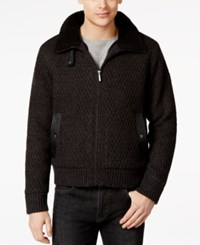 Dkny Jeans Aviator Full Zip Lined Sweater With Faux Leather Trim Black
