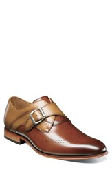 Stacy Adams Men's Saxon Perforated Monk Shoe Cognac Tan Leather
