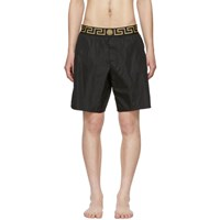 Versace Underwear Black Greek Key Border Swim Shorts