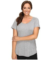 Lucy Extended Short Sleeve Workout Tee Asphalt Heather Women's Workout Gray