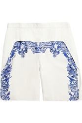 Just Cavalli Printed Leather Shorts White