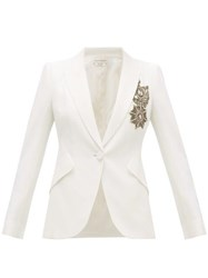 Alexander Mcqueen Single Breasted Embroidered Leaf Crepe Jacket Ivory
