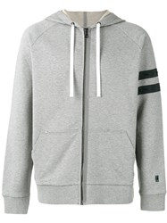 Lanvin Striped Sleeve Zip Hoodie Grey