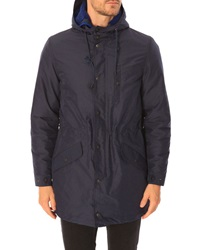 Celio Club Ohull Long Navy Parka Removable Hood Lining