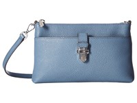 Michael Michael Kors Mercer Medium Snap Pocket Crossbody Denim Cross Body Handbags Blue