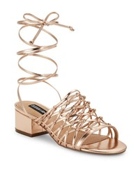 Design Lab Lord And Taylor Mya Lace Up Sandals Rose Gold