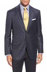 David Donahue 'Conner' Classic Fit Plaid Wool Sport Coat Navy