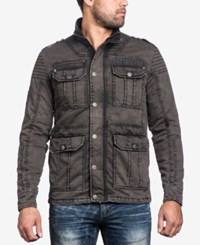 Affliction Men's Quilted Window Pane Military Jacket Charcoal