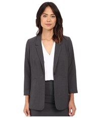 Kensie Heather Stretch Crepe Longer Blazer Ks2k2125 Heather Dark Grey Women's Jacket Gray