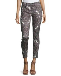 7 For All Mankind The Ankle Skinny Jeans Swan River Paisley Gray