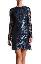 Dress The Population Women's 'Grace' Sequin Lace Long Sleeve Shift Navy