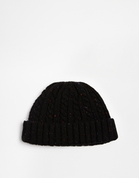 Asos Cable Fisherman Beanie Black