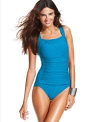 Inc International Concepts Ruched One Piece Swimsuit Women's Swimsuit Blu