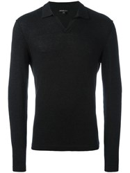 James Perse Knitted Long Sleeve Polo Shirt Grey
