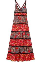 Alice Olivia Karolina Crochet Trimmed Printed Crepe Maxi Dress Red