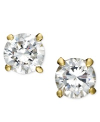B. Brilliant 18K Gold And Sterling Silver Earrings Round Cubic Zirconia Studs 1 2 Ct. T.W.