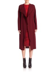 Akris Long Wool Crepe Coat Mangosteen
