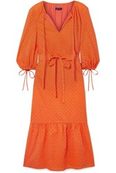 Mds Stripes Garden Belted Broderie Anglaise Cotton Dress Bright Orange