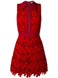 Alice Olivia Floral Embroidery Dress Women Cotton Polyester Spandex Elastane 8 Red