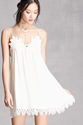 Forever 21 Crochet Lace Gauze Mini Dress White