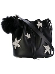 Les Petits Joueurs Daliah Star Bucket Bag With Fox Fur Pom Pom Women Calf Leather One Size Black