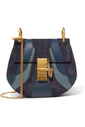 Chloe Drew Mini Patchwork Leather And Suede Shoulder Bag Blue